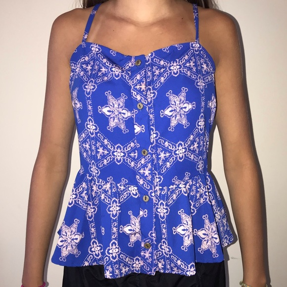 B Jewel Tops - Blue and pink tank top